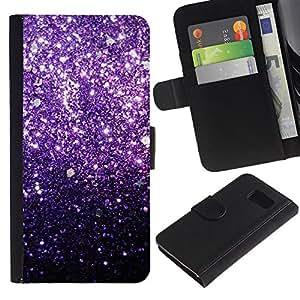 All Phone Most Case / Oferta Especial Cáscara Funda de cuero Monedero Cubierta de proteccion Caso / Wallet Case for Samsung Galaxy S6 // Glitter Purple Shiny Dark Bling