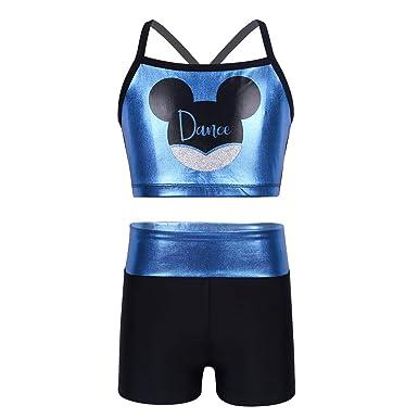 YiZYiF 2pc Bikini Niña Chaleco Brillante Top Bra con Pantalones Cortos Sujetador Deportivo Ropa de Tenis Gimnasia Gym para Niñas Chicas 4-12 Años: ...