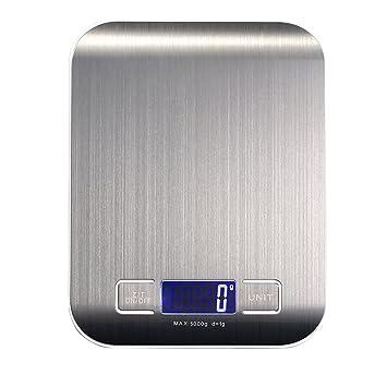 YESDA Báscula de cocina digital con pantalla LCD para Cocina y Alimentos, 5 Kg / 1 g (Pilas incluidas)  plata: Amazon.es: Hogar