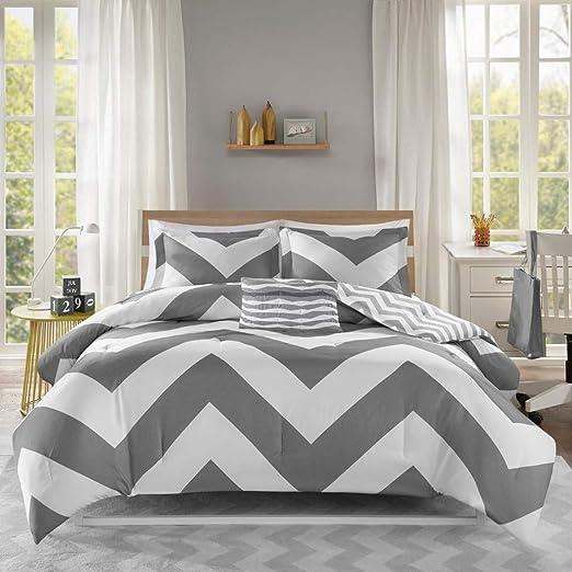 Amazon.com: D&H 4 Piece Grey Chevron Comforter Full Queen Set