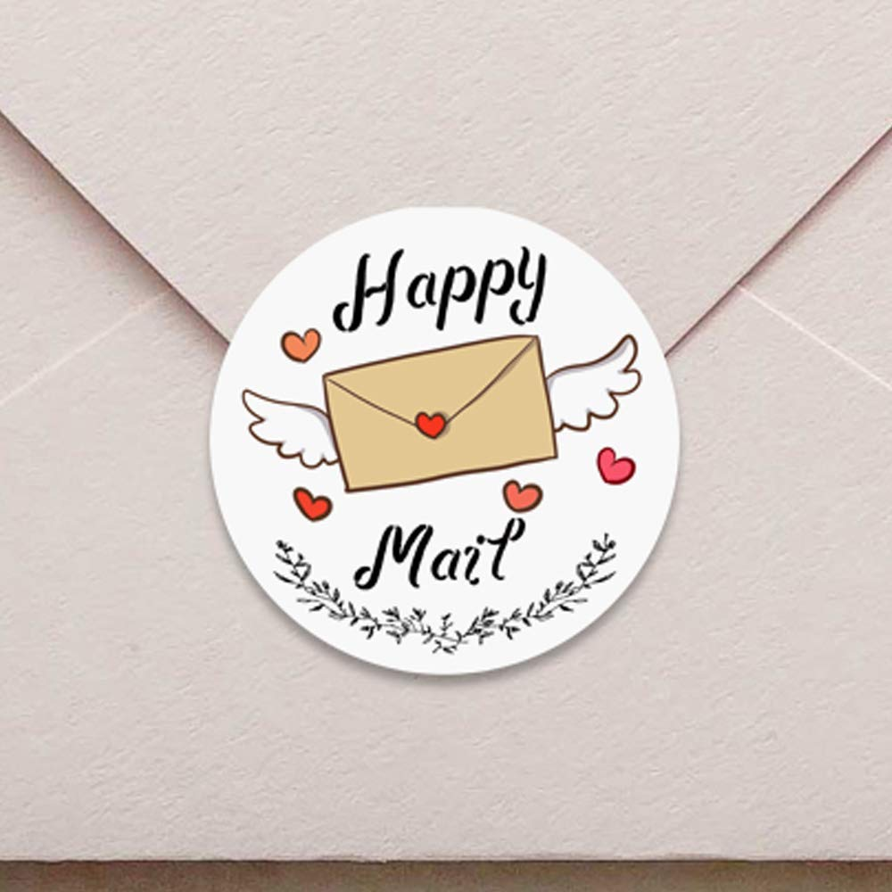 Happy Mail Valentine Bumble Bee Stickers for Packages and Envelopes