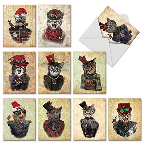 10 Assorted 'Christmas Steampunk Cats' Greeting Cards with Envelopes 4 x 5.12 inch, Christmas Cards with Funny Cats in Gentleman's Hats and Goggles, Stationery for Parties and Holidays M6554XSG