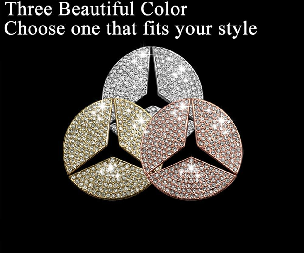 TopDall Steering Wheel Bling Crystal Emblem Shiny Accessory Interior Decal Sticker for Mercedes-Benz