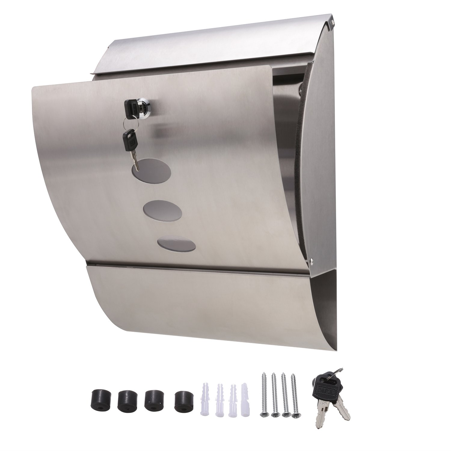 Scallop Mailbox Wall Mount Silver Powder Coated Steel with Waterproof Lid Large Outdoor Lockable//Locking Mailbox//Postbox