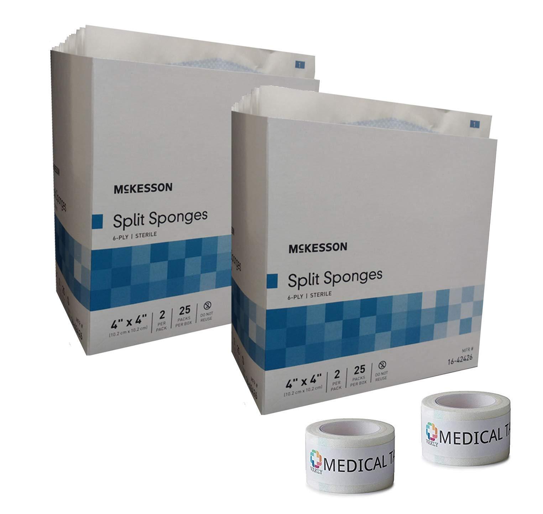Sterile 4''X4'' 6 Ply Split Drain Sponge 2 Packs of 25 Packs of 2 + 2 Rolls of Vakly Medical Tape (2)
