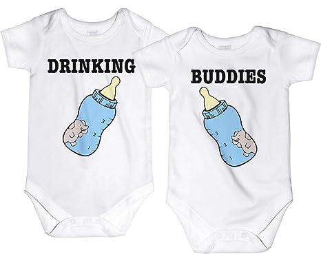 aa0aba377 CarefreeTees Drinking Buddies Twin Babies (Baby Boys Bodysuit NB 2 Blue  Bottles - SET of