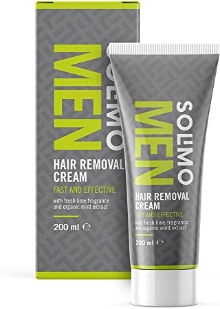 Marca Amazon - Solimo -  MEN - Crema depilatoria para hombre, rápida y efectiva en la piel masculina, con aroma de lima fresca y extracto de menta ecológica, Pack de 4 (4 unidades x 200 ml)