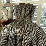 Thomas Collection gray and brown throw blanket, large faux fur throw blanket, Gray Brown Fox Faux Fur Throw Blanket & Bedspread, Luxury Soft Fox Faux Fur, Handmade in USA, 16422