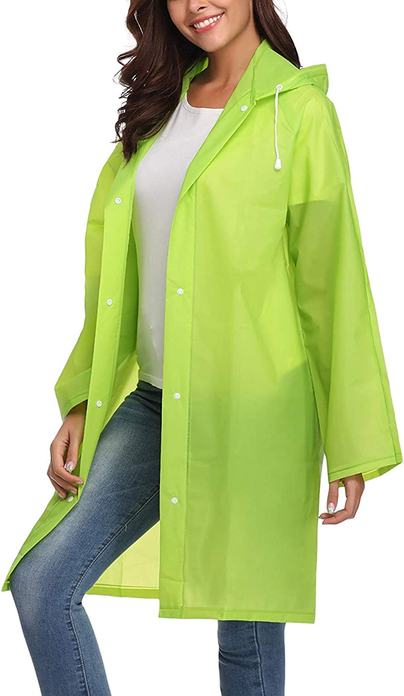 SENSERISE Womens EVA Raincoat Waterproof Rain Ponchos Long Rainwear Packable Hooded Raincoat