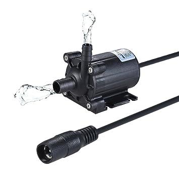Decdeal Dual Salidas Bomba de Agua Aceite Compacto Tamaño Ultra-Silencioso Sin-Cepillo, Máximo Levantamiento 5M 450L/H DC 12V para Estanque Pecera Acuario ...
