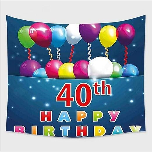 hhyyoo Tapiz De Pared Tapiz 40 Cumpleaños Decoración ...