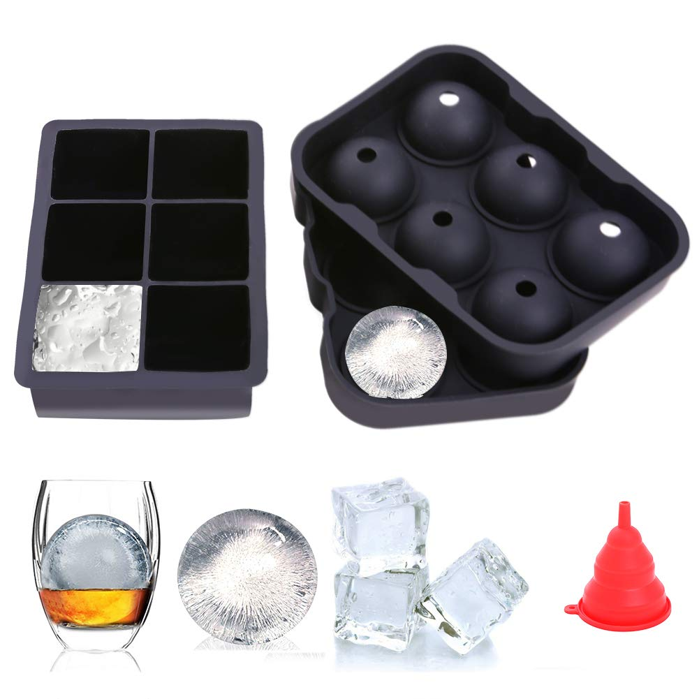 Honfill Ice Cube Trays Baking Cake Molds Sphere Round Ice Ball Maker Large Square Silicone Combo Molds for Chilling Burbon Whiskey Cocktail Beverages and More - Reusable and BPA Free(2/Pack)