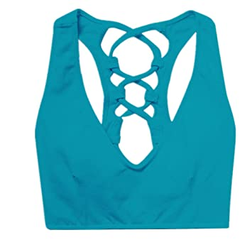 Mujer Bralette Top Sujetador de yoga color caramelo belleza espalda sujetador cruzado vendaje Fitness a prueba