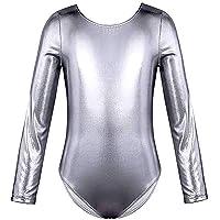 furein Maillot de Danza Ballet Gimnasia Leotardo Body Clásico Brillante Elástico para Niñas de Manga Larga Cuello…