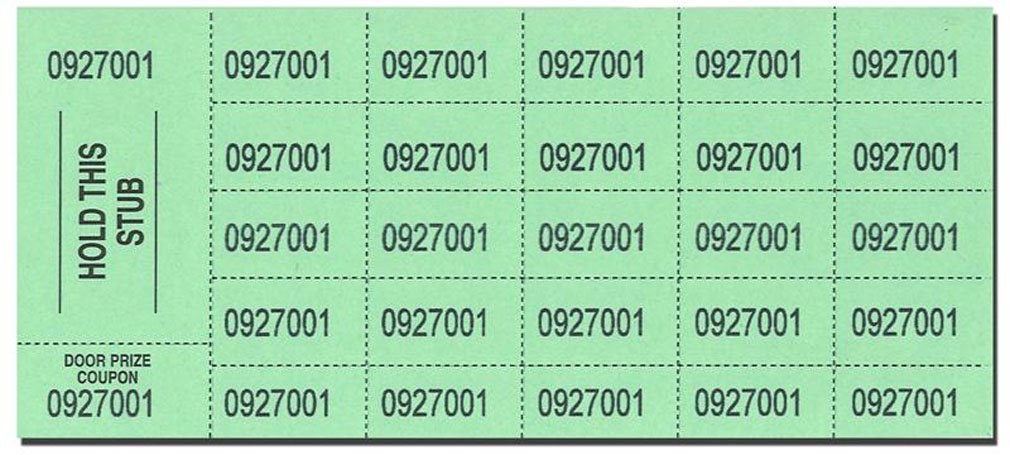 Auction Tickets - 500 Sheets - GREEN by Auction Tickets