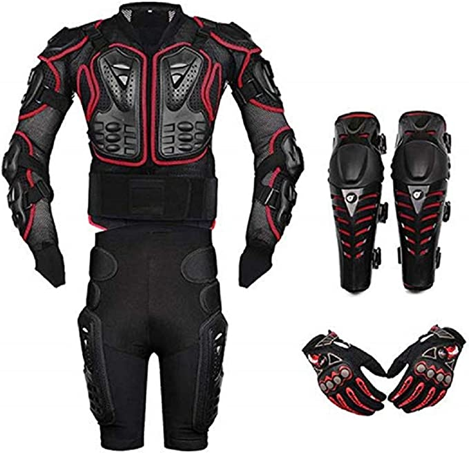 Akaufeng Motorrad Protektorenjacke Mit Getriebe Kurzen Hosen Knieprotektoren Handschuhe Protektorenhemd Motorrad S 5xl Bekleidung