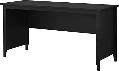 kathy ireland Home by Bush Furniture Connecticut 60W Writing Desk in Black Suede Oak