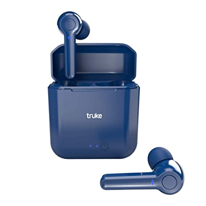 truke Fit Buds Bluetooth Headphones with Mic (TWS), True Wireless Earbuds with 10mm Driver, Bluetooth Earphones with 500mAh Case for 20hrs Music Playtime, Quick Paring Headphones Bluetooth 5.0 (Blue)