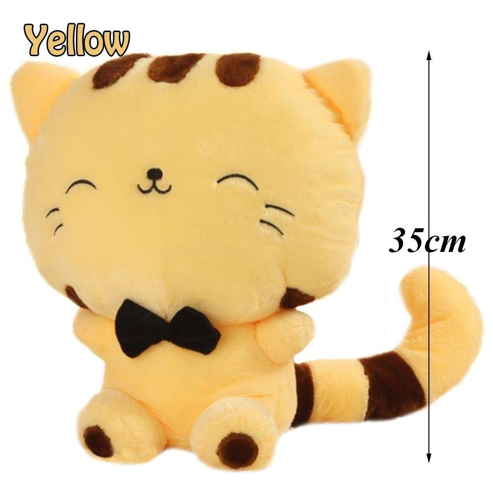 Unmengii 35CM Soft Cushion Kitty Tail Smile Fortune Cat Animal Dolls Sofa Pillow Plush Stuffed Toy
