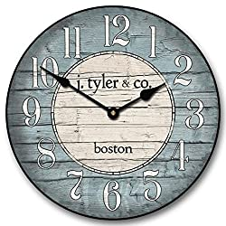 Boston Harbor Blue Wall Clock, Available in 8 sizes, Most Sizes Ship 2 - 3 days, Whisper Quiet.