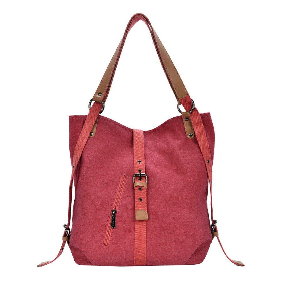 Kauneus Women's Canvas Totes Vintage Female Hobos Shoulder Bags Backpack Red