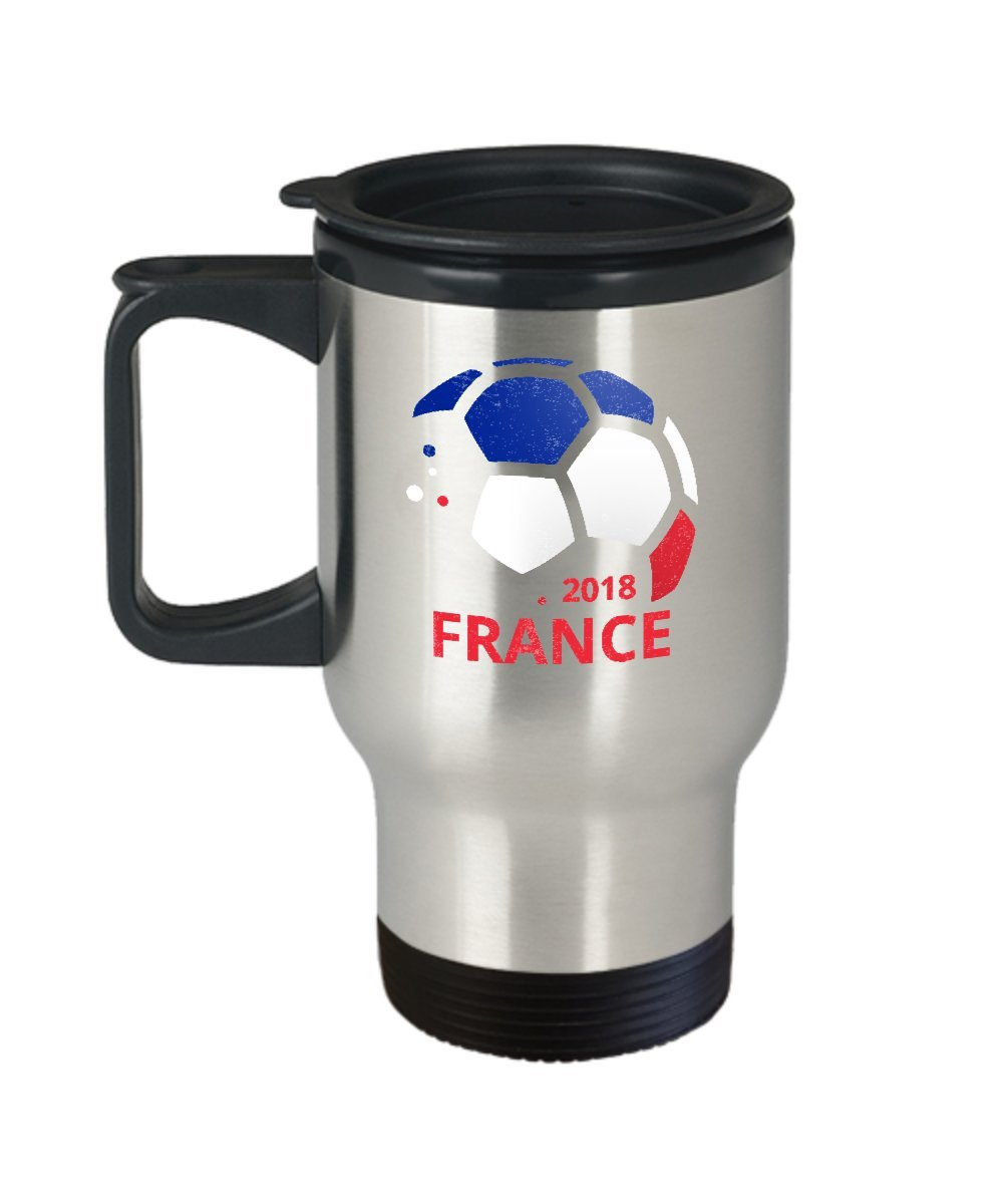France Soccer Team Travel Coffee Mug - 14oz Stainless Steel Tea Cup With Lid. World Football Cup Country Pride Novelty Gift. Set of 1.