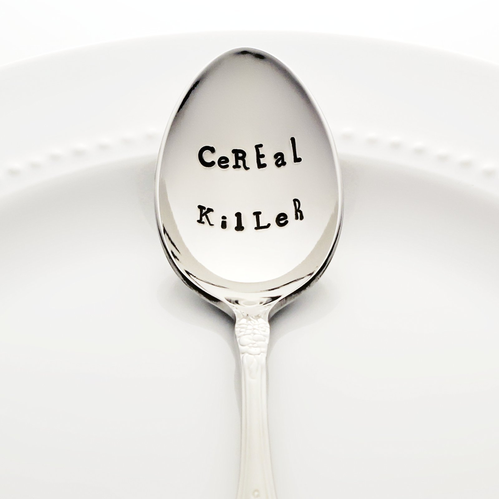 CeREaL KilLeR - Hand Stamped Spoon, Stainless Steel Stamped Silverware by Bon Vivant Design House - Food Pun Novelty Foodie Gifts
