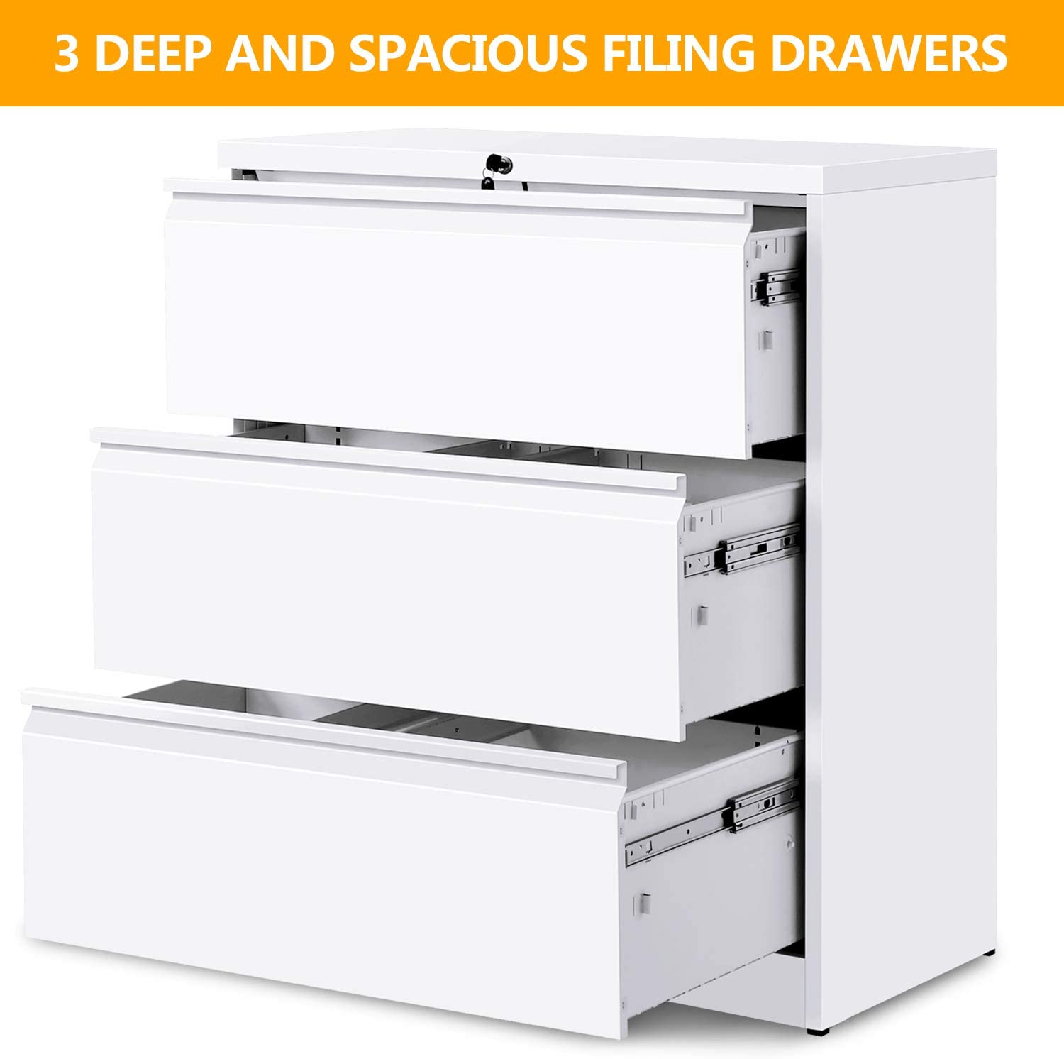 45 Drawers White Lateral File Cabinet with Lock, Lockable Heavy Duty Filing  Cabinet, Steel Construction