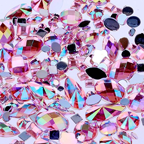 Mix Sizes 300pcs Crystal Pink AB Nail Art Rhinestones DIY Non Hotfix Flatback Acrylic Nail Stones Gems for 3D Nails Art Decorations (Pink AB) (Rhinestones Pink)