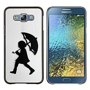 TECHCASE---Cubierta de la caja de protección para la piel dura ** Samsung Galaxy E7 E700 ** --Chica Lluvia Blanca metal cepillado