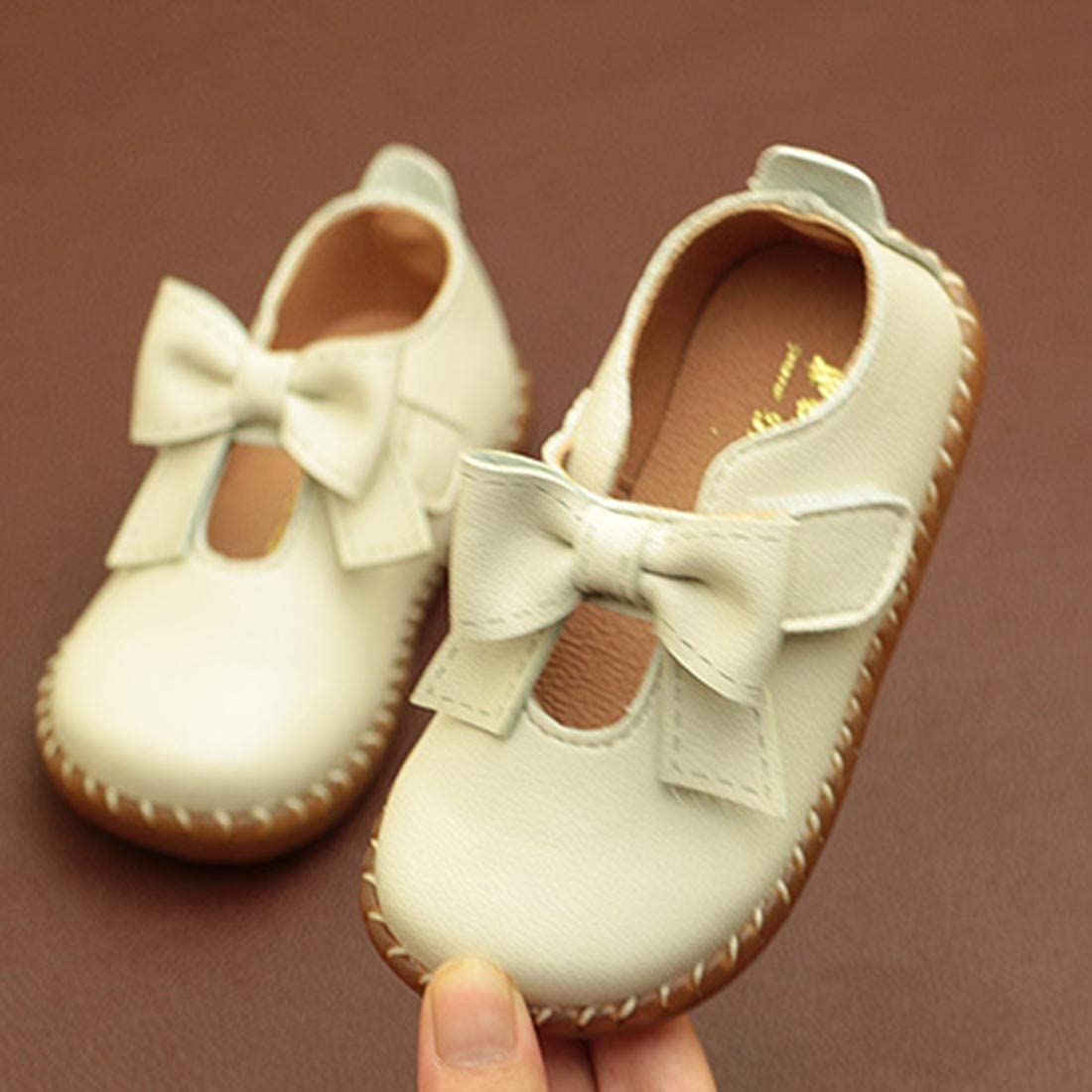 YIBLBOX Girls PU Leather Mary Janes Baby Toddler First Walking Shoes for Parties and Special Occasions