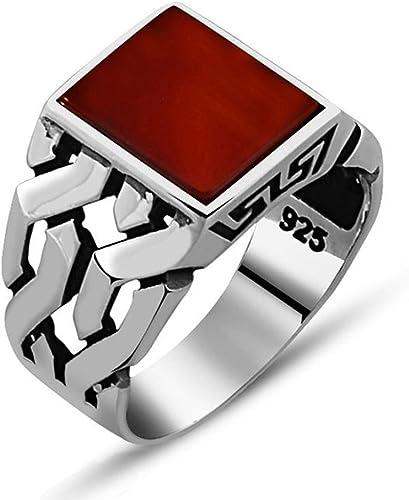 vestir mapa Vaciar la basura  Amazon.com: Chimoda - Anillo de plata para hombre con piedra de ágata roja  en plata de ley 925 hecha a mano, sin metal, 11: Jewelry