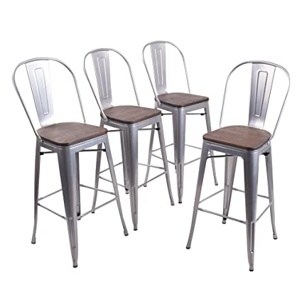 Excellent Andeworld Set Of 4 Tolix Style Counter Height Bar Chairs Industrial Metal Bar Stools Indoor Outdoor High Back Silver Wooden 30 Inch Gmtry Best Dining Table And Chair Ideas Images Gmtryco