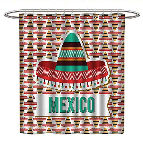 Anshesix Mexican Decorations Collectionhookless Shower curtainMexico Design Cultural