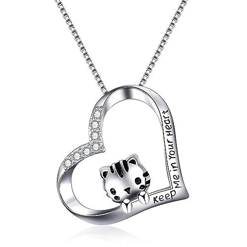 WINNICACA S925 Collar de plata de ley con diseño de gato ...