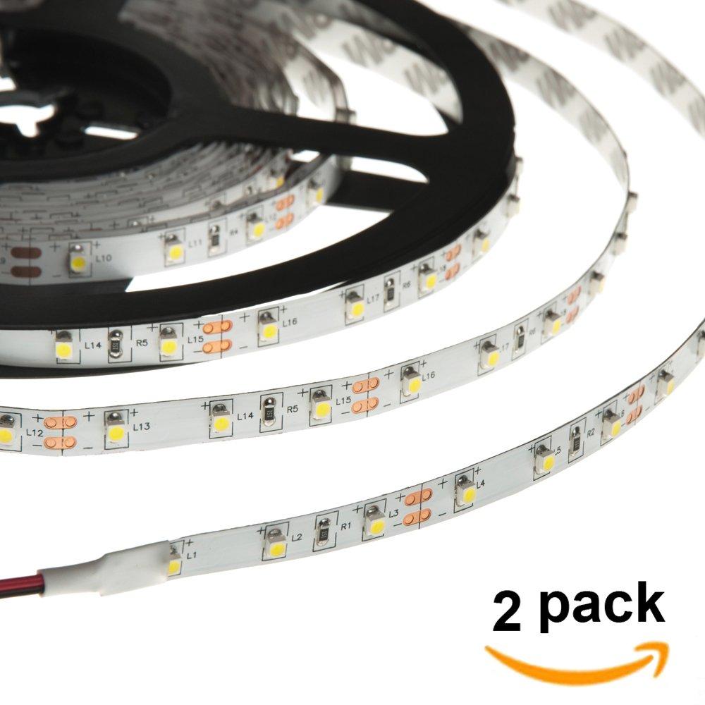HERO-LED 5M300SAD-NW LED Strip Tape Light, 5M 16.4FT 1800LM 12V DC 24W IP33 LED Tape, Natural White 4000K, 2-Pack