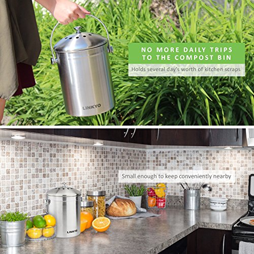 LINKYO Compost Bin - Stainless Steel Kitchen Composter, Includes 4 Filters (1 Gallon)