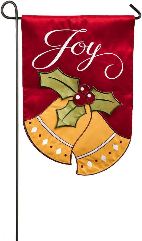 Evergreen Applique Joyful Christmas Bells Garden Flag, 12.5 x 18 inches