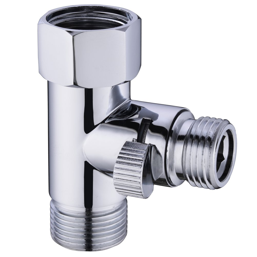 SonTiy Solid Brass 7/8''T-Adapter Valve with Shut off Valve Adjustable Water Pressure Control 3 way Tee Connector Bidet Attachment for Toilet Chrome Finish