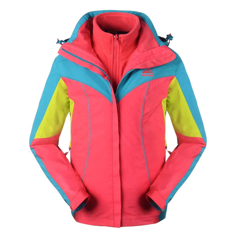 Reopen Girl's Outdoor 3 in 1 Sports Jacket Mountain Waterproof Ski Jacket with Inner Detachable Fleece Coat and Detachable Hat (120/56A, Pink)