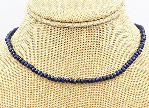 (Genuine Top Natural 2x4mm Blue Sapphire Faceted Gems Beads Necklace 18'' AAA)