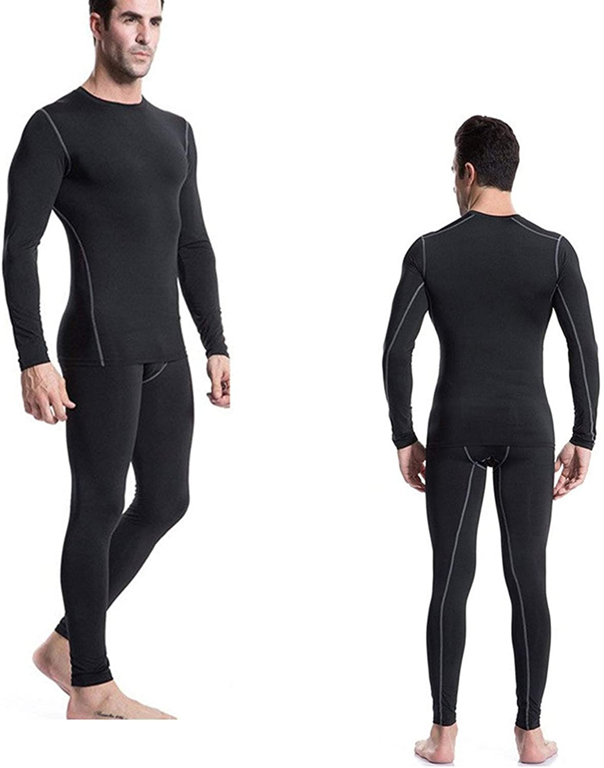 Minghe Mens Thermals Underwear Set Fleece Lined Tops Long Johns Warm Base Layer for Skiing