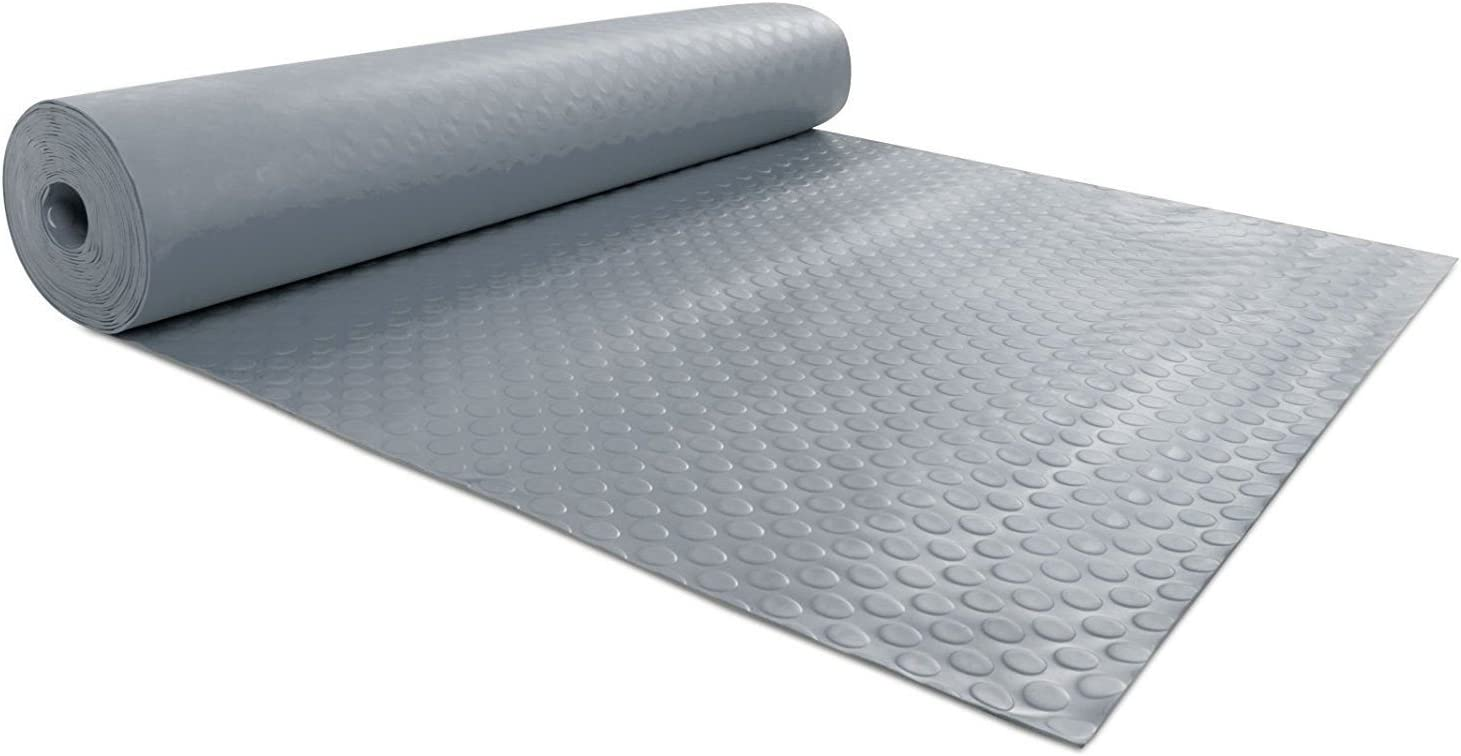 Rollo de suelo PVC gris y negro de 1,5 mm de grosor 1 m de ancho discos elevados.