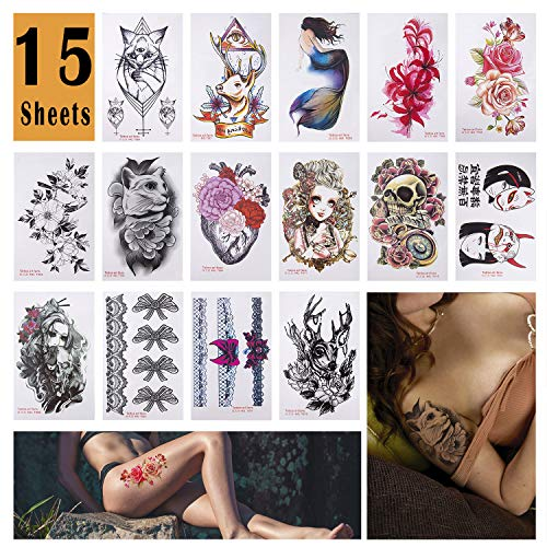 HUOB 15 Sheets Large Temporary Tattoos Body Tattoo Sticker for Women Girl for Arms Legs Shoulder or Back (The Best Shoulder Tattoos)
