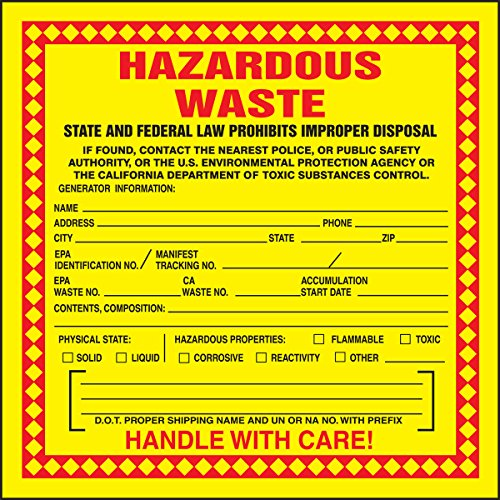 Accuform MHZWCAEVP Adhesive-Poly Vinyl (California) Hazardous Waste Label, Legend