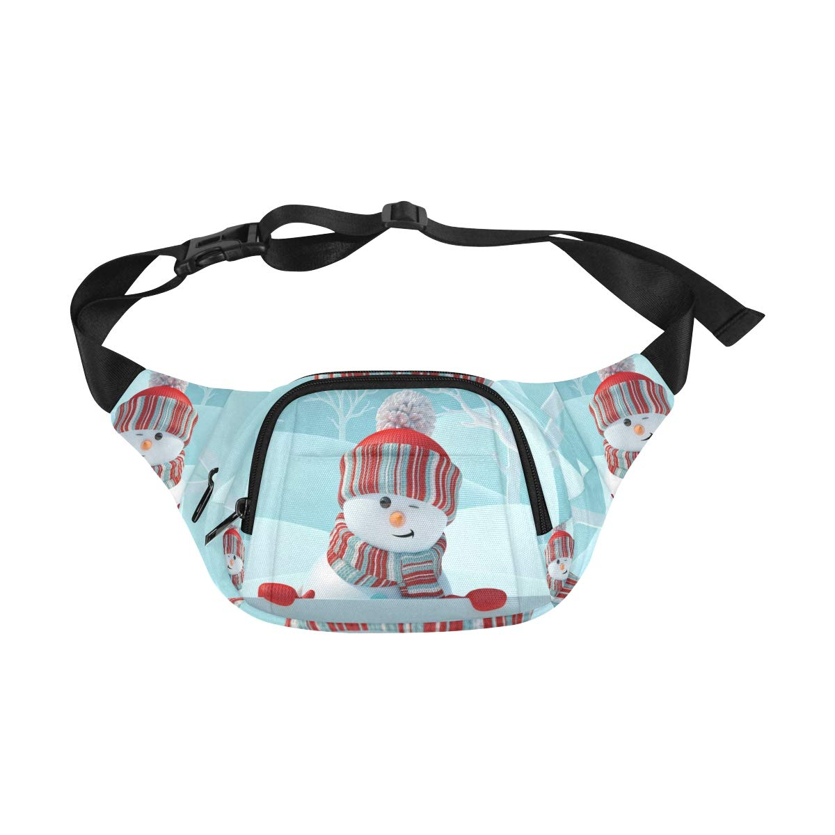 Happy White Snowman In Winter Fenny Packs Waist Bags Adjustable Belt Waterproof Nylon Travel Running Sport Vacation Party For Men Women Boys Girls Kids