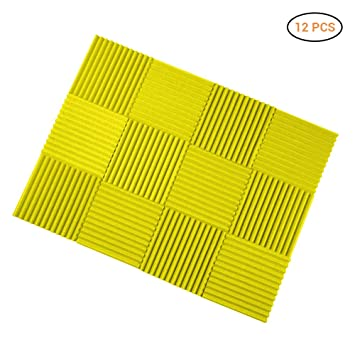 Mallalah Espuma Acústico Insonorizado Cojín Monitor de estudio Absorción Aislamiento Acústica Paneles Tratamiento Conjunto (amarillo
