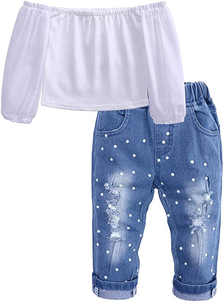Kids Tales Toddler Girls Lace Sleeve Off Shoulder Tops Denim Shorts Outfits Set