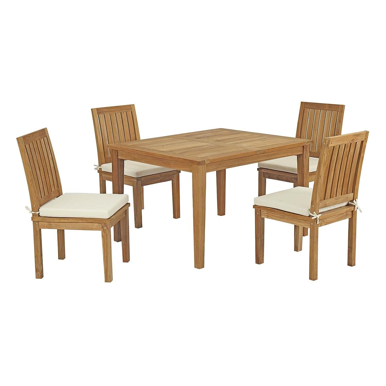 Amazon com modway eei 3287 nat whi set marina premium grade a teak wood 5 piece outdoor patio dining furniture set natural white garden outdoor