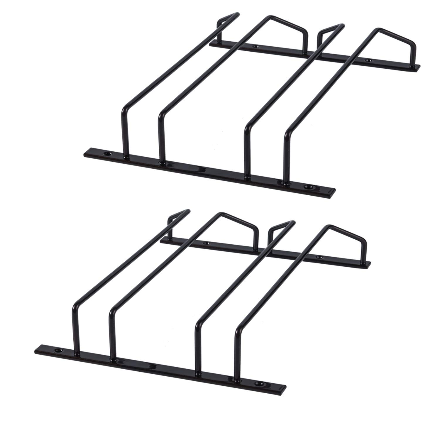 TY Storage Under Cabinet Hanging Stemware Rack, 4 Rows Wine Glass Hanger Rack Hold up to 12 Glasses in Double Layer Powder Coating for Bar, Countertop Kitchen Storage, Set of 2, Bronze